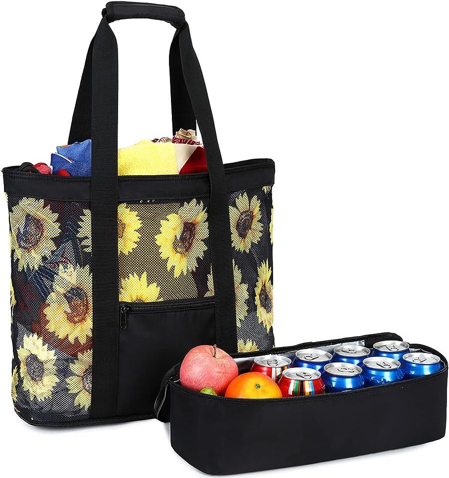 Beach Tote Bag Cooler Large Mesh Beach Bag Women Oversized Pool Bag Picnic (Black-Sunflower Mesh)