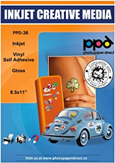 PPD 10 Sheets Inkjet Creative Media Glossy Self Adhesive PVC Vinyl Sticker Paper 8.5x11 True Photographic Quality 4.1mil T...