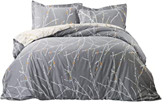 Bedsure Tree Branch 100% Cotton Duvet Cover Set Twin Size Grey/Ivory Reversible Comforter Cover Bedding Sets 2 Pieces