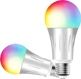 Smart Light Bulb ESICOO, Smart Light Bulb, led Bulb, Smart Llight, Compatible with Alexa Google Home IFTTT, Dimmable 60W Equivalent Lamp Bulb RGBW (2 Pack 7W)