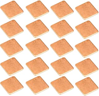 Easycargo 20pcs Heatsink Copper Pad Shims 15x15mm+ pre applied thermal conductive adhesive tape on heat sink for cooling Laptop GPU CPU IC Chips VGA RAM (0.5mm)