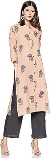 Appirant Women's Cotton Front Slit Kurta with Palazzo Set (Light Peach)