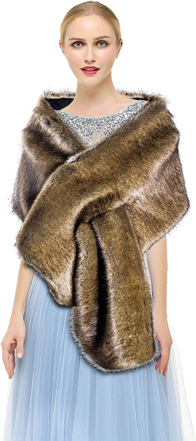 Women's Winter Wedding Shawl Faux Fur Scarf Wraps for Evening/Party/Show