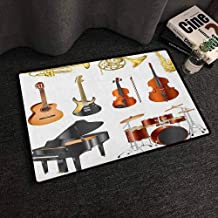 Xlcsomf Home Door mat Music Easy to Clean Collection of Musical Instruments Symphony Orchestra Concert Composition Theme Print Multicolor,W30 x L39