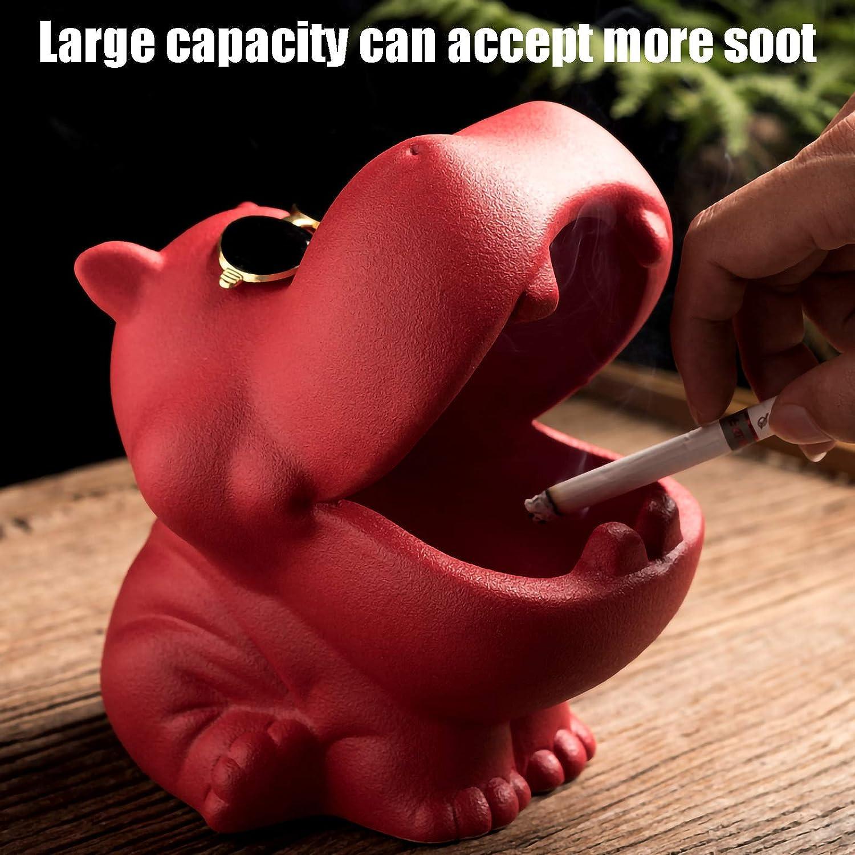 Creative Mignon Animal Cendrier Color:Noir mat C/éramique Cendrier Hippopotame Cendrier Anti-cendres Volantes Grande Capacit/é C/éramique Cendrier Individuel Maison Voiture Art D/écoration D/écoration Ca