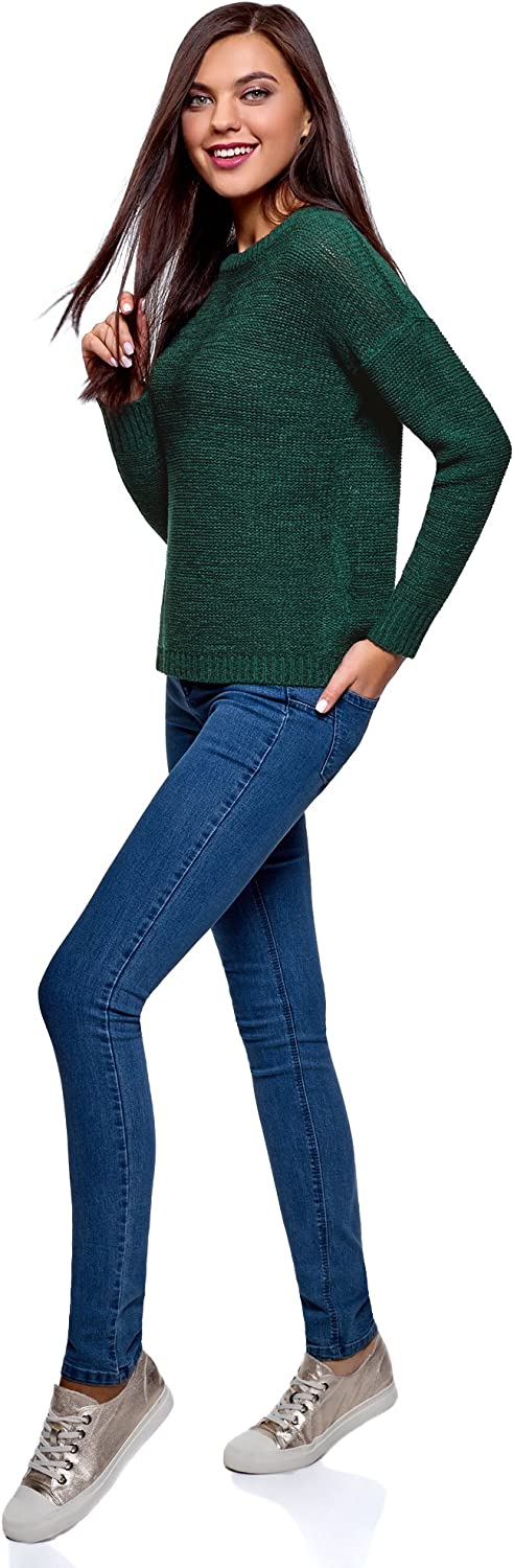 oodji Ultra Women's Relaxed-Fit Crew Neck Pullover