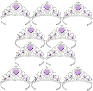 XiangGuanQianYing Tiaras and Crowns for Little Girls from 3 Years Up Party Favors Lavender Tiara Plastic Tiara(10 Pack)