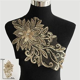Hochwertige Goldstickerei Applique 3D Blume Nähen Spitze Ausschnitt DIY ABS Perle Craft Tüll Spitze Kragen Kleidung Zubehör