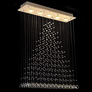 Dst Chandelier Modern Crystal Raindrop Chandeliers Lighting Flush Mount LED Ceiling Light Fixture Glass Pendant Lamp for Dining/Living Room Bedroom Cafe Staircase Required GU10X5 L31.5 W8 H41