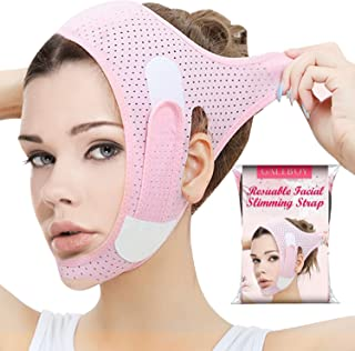 Double Chin Reducer, Face Slimming Strap, V Line Lifting Mask Chin Strap for Women and Men, Anti-Wrinkle Face Mask for Dou...