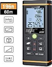 Laser Measure, ESYWEN Digital Laser Distance Meter 196ft Laser Tape Measure with Large LCD Backlight Display and Pythagorean Mode, Measure Distance/Area/Volume