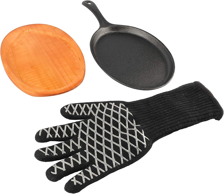 PitMaster King Pre-Seasoned Cast Iron with Wood 100% quality warranty! Skillet Set Brand new Serv