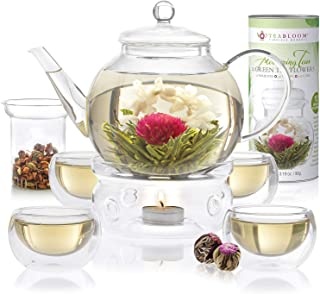 Teabloom Complete Tea Set - Stovetop Safe Glass Teapot with 12 Flowering Teas, Tea Warmer, 4 Double Wall Teacups & Removable Glass Infuser for Loose Leaf Tea - Celebration Flowering Tea Gift Set