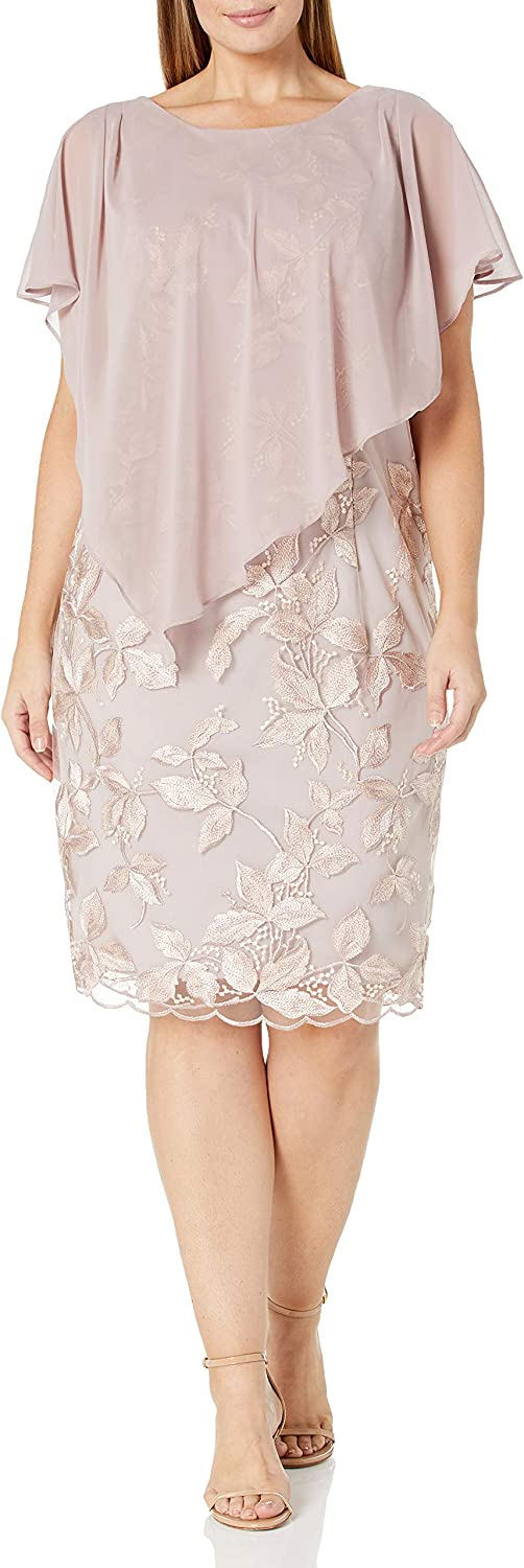Alex Evenings Women's Plus Size Cocktail Dress with Popover Overlay