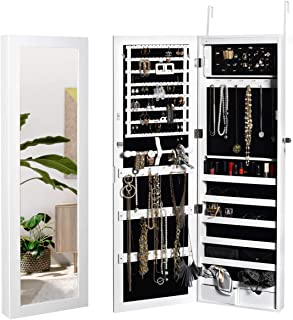 JAHRSTIM Jewelry Cabinet Darlene Armoire Lockable Wall/Door Mounted Hanging Storage Organizer with Mirror and 15 LEDs