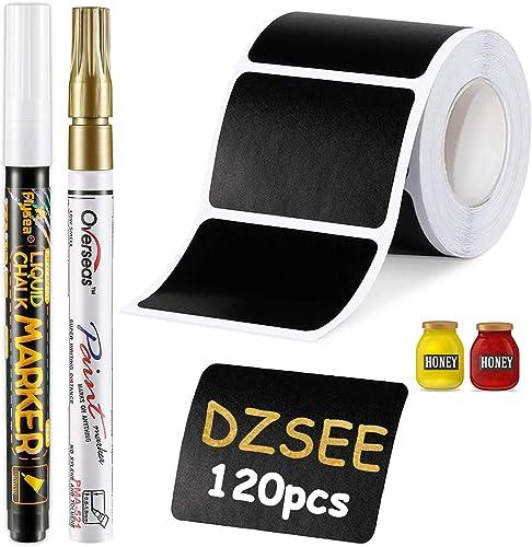 DZSEE® 120x Étiquettes Bocaux +2 marqueurs de Craie, Étiquettes Autocollantes Bocaux Noires, Étiquettes De Tableau No...