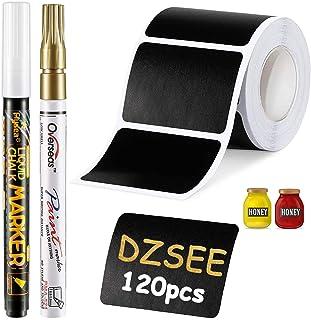 DZSEE® 120x Étiquettes Bocaux +2 marqueurs de Craie, Étiquettes Autocollantes Bocaux Noires, Étiquettes De Tableau Noir, É...