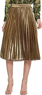 Women's Premium Metallic Shiny Shimmer Accordion Pleated Long Maxi Skirt