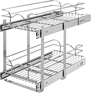 2 Tier Wire Basket Pull Out Shelf Drawer Storage Organizer for Kitchen Base Cabinets Chrome-Plating 11 Inch x 24 Inch