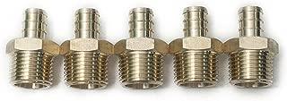 LTWFITTING 1/2 PEX x 1/2 Male NPT Adapter, Brass Crimp PEX Fitting(Pack of 5)