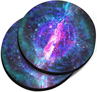 CARIBOU Coasters, Supernova Design Absorbent Round Fabric Felt Neoprene Car Coasters for Drinks, 2pcs Set