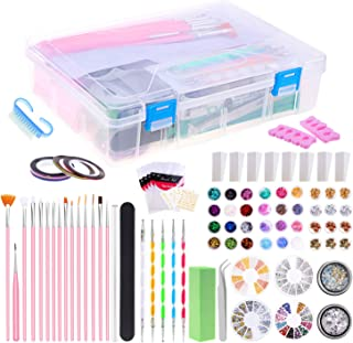 Selizo 99 Packs Nail Art Tools Kit Includes Rhinestones for Nails, Nail Crystals Charms, Nail Art Brushes and Nail Tools for Acrylic Nail Design Decorations Supplies, with Gift Box