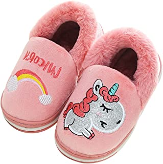 Boys Girls Unicorn Slippers Cute Animal House Home Slippers for Kids Winter Warm Indoor Ourdoor Shoes, Anti-Skid (Toddler/Little Kid)