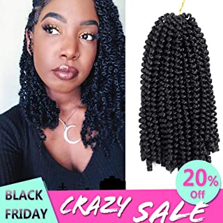 Ombre Crochet Braids Hair Extensions Colors Spring Twist Synthetic Braiding Low Temperature Fiber 8inch 110g (1B)