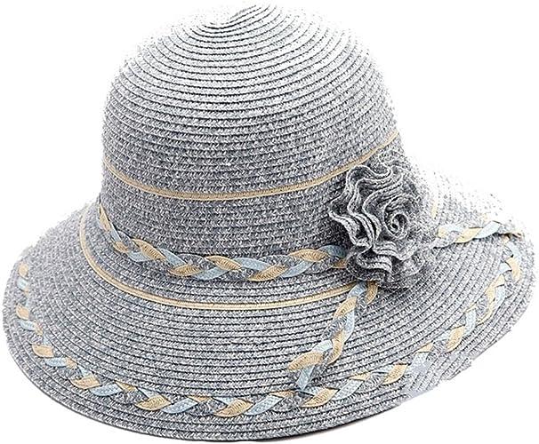 Ying xinguang Grand Chapeau de Paille Naturelle avec OrneHommest de Fleurs Chapeau de Paille