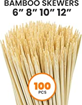 "Allcana Natural Bamboo Skewers for BBQ, Fruit Kabob, Appetizer, Grilling, Shish Kabob, Chocolate Fountain, Marshmallows, 3mm, Sizes 6""/8""/10""/12"" - 100pcs"