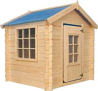 TIMBELA Cabane en Bois pour Enfant – Maison de Jardin pour l'exterieur/pour l'intérieur - emboîtée ép. 13 mm (Toit Bleu)- ...