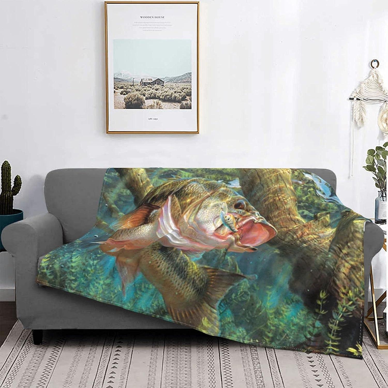 Bass Fish Blanket Throw Super Fit Soft Fleece fo Popular standard Max 54% OFF