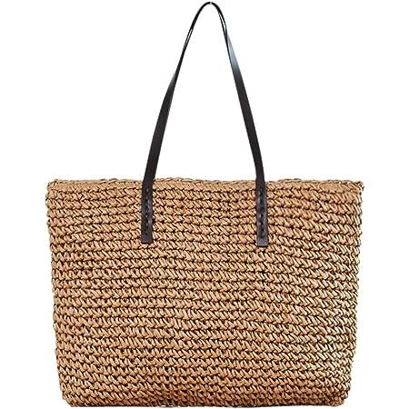 Faletony Sommer Stroh Strandtasche Groß Umhängetasche Shopper Handtasche Crossbody Strohtasche für Damen Mädchen Frau, Kaffeebraun/Weiß (Kaffeebraun)