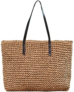 Women Straw Woven Tote Large Beach Handmade Weaving...