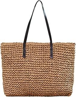 Women Straw Woven Tote Large Beach Handmade Weaving Shoulder Bag Handbag