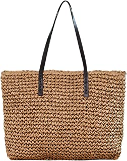 CHIC DIARY Womens Hand-woven Straw Shoulder Bag Large Summer Beach Leather Handles Handbag Tote with Zipper