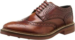 Base London Woburn Hi Shine Tan Cuir Hommes Formal Brogue Chaussures