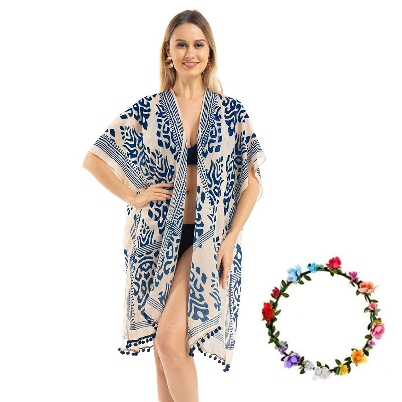 Womens Fashion Floral Print Swimsuit Casual Cardigan Loose Beach skirt Cover Up.
