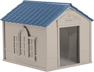 Suncast Outdoor Dog House with Door - Water Resistant & Attractive for Small to Large Sized Dogs - Easy to Assemble - Perfect for Backyards