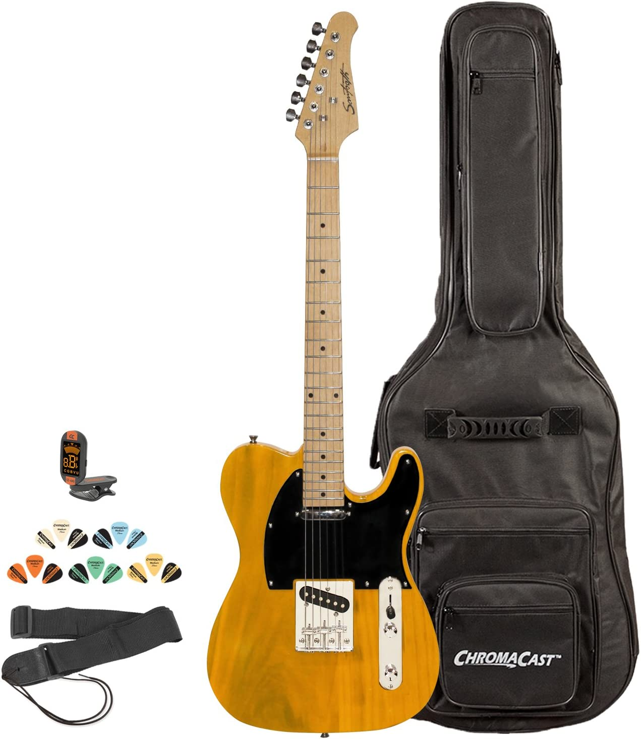 Sawtooth ST-ET-BSB-KIT-2 Electric Guitar free Blac Butterscotch with Branded goods