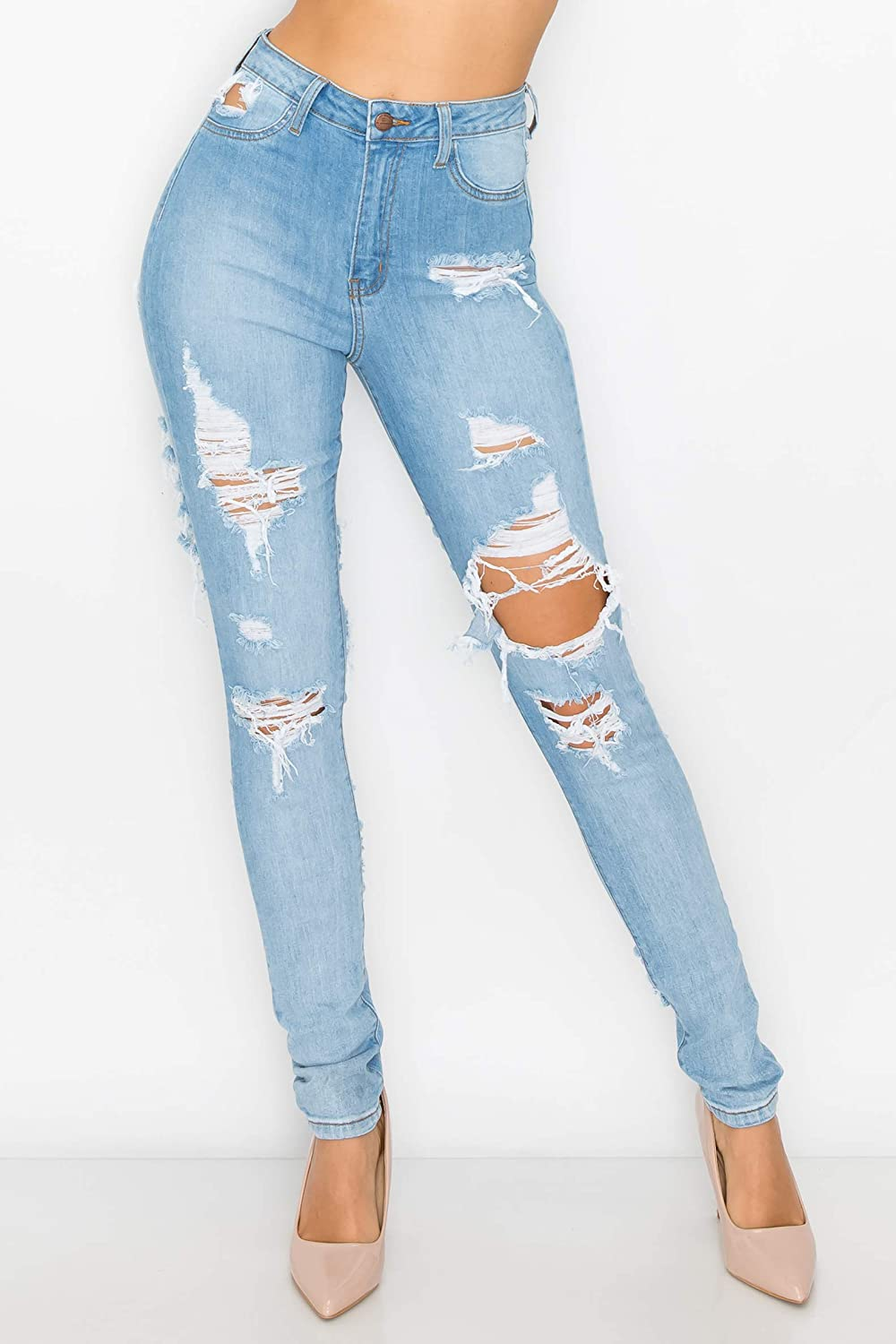 Aphrodite High Waisted Jeans for Women - High Rise Skinny Womens Hand Sanding Distressed Ripped Jeans with Cut Outs 4877 Light Blue 13