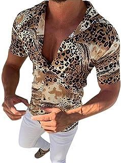HUAZONG Camisa hawaiana de manga corta con estampado de leopardo y estampado casual de fantasía floral para la playa y fie...