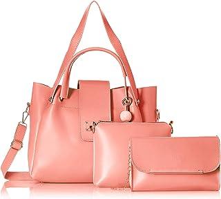 Envias Women's Handbag With Sling Bag (Set of 3) (EVS-088_Peach)