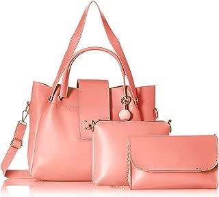 Envias Women's Leatherette Handbag & Sling Bags Combo (Peach) (Set of 3)