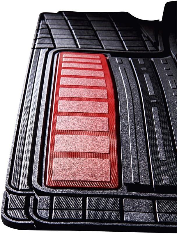 4-Piezas Allwetter Rojo CarFashion 266405 Auto Alfombra Soporte sin Juego de alfombrillas para Matte plana SilverStone