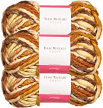 Premier Yarns (3 Pack Isaac Mizrahi Lexington Acrylic & Wool Soft Downtown Yellow Beige Brown Yarn for Knitting Crocheting #6 Super Bulky