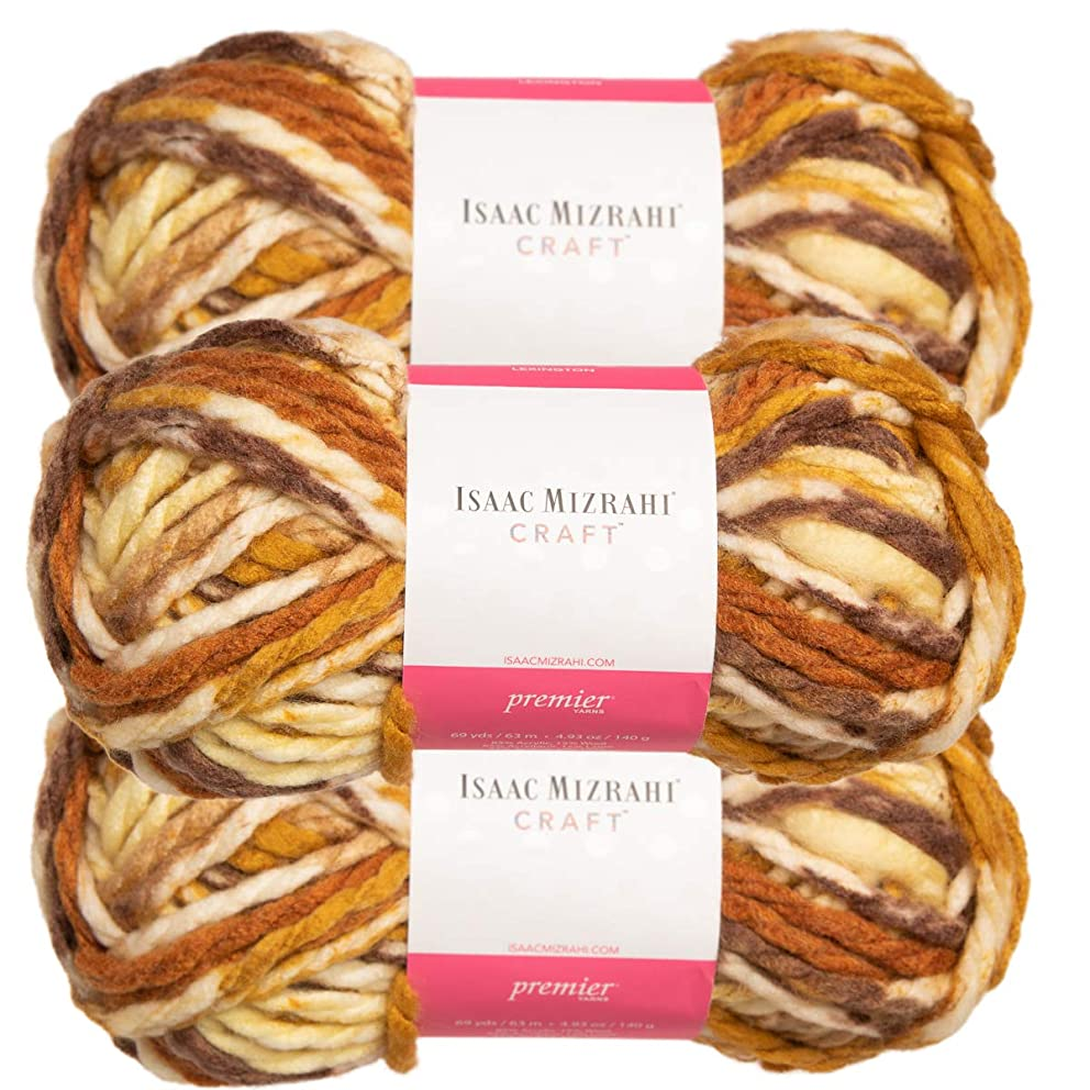 Premier Yarns (3 Pack Isaac Mizrahi Lexington Acrylic & Wool Soft Downtown Yellow Beige Brown Yarn for Knitting Crocheting #6 Super Bulky