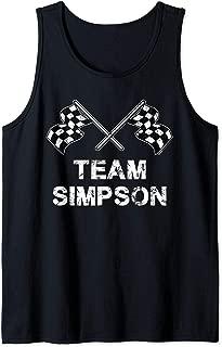 Vintage Team Simpson Family Name Checkered Flag Racing Tank Top