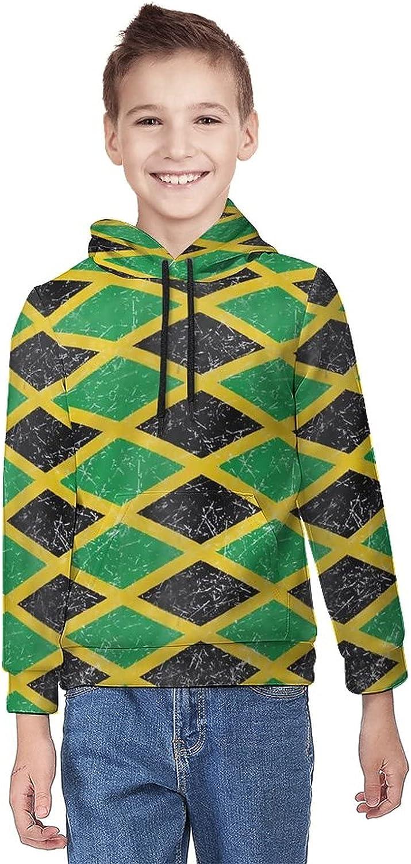 Kimisoy Kids' Hooded Youth Regular store Sweatshirt High material Jamaican Cari JAMAICA Flag