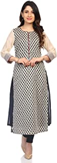 BIBA Women's Off White and Black Cotton Kurta